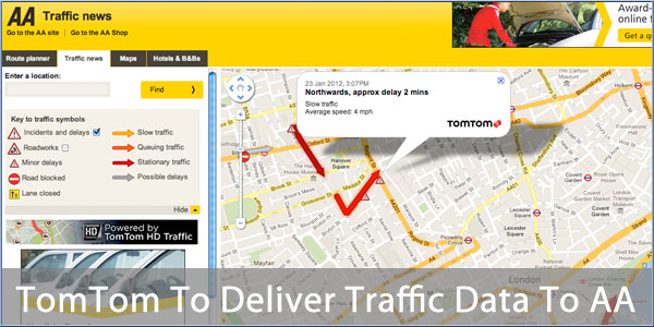 Aa Traffic Map TomTom To Supply RealTime Traffic Data to AA Website