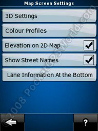 Map Screen Settings