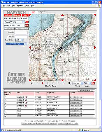 The Maptech mapserver for outdoor navigator gps ready maps and charts