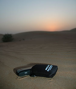 The Qstarz travel recorder in the desert in Dubai