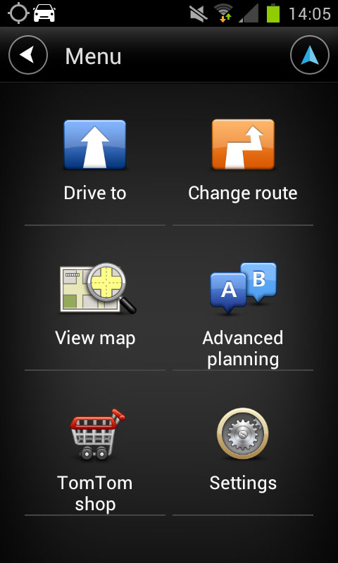 TomTom Android Menu