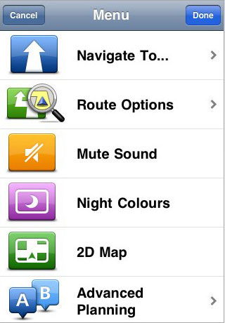 TomTom iPhone Menu Screens